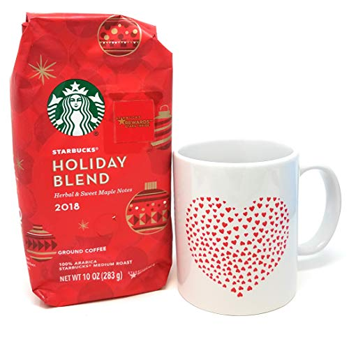 Christmas Ceramic Coffee Cup and Starbucks Holiday Blend Gift Bundle