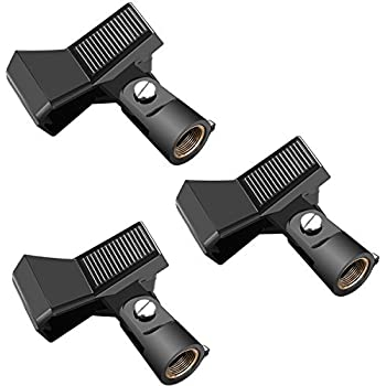 Neewer 3 Packs Microphone Clip Clamp Holder for Mic Stand with 5//8 inch Screw an
