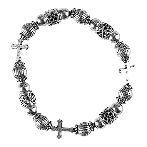 First Holy Communion Pewter Girl's Beaded Stretch Bracelet (Beaded First Bracelet Communion)