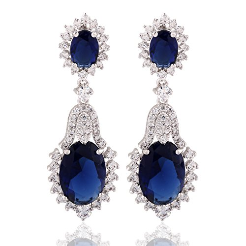 - GULICX Vintage Design Long Luxury Oval CZ Stone Silver Tone Blue -Sapphire Color Drop Earrings