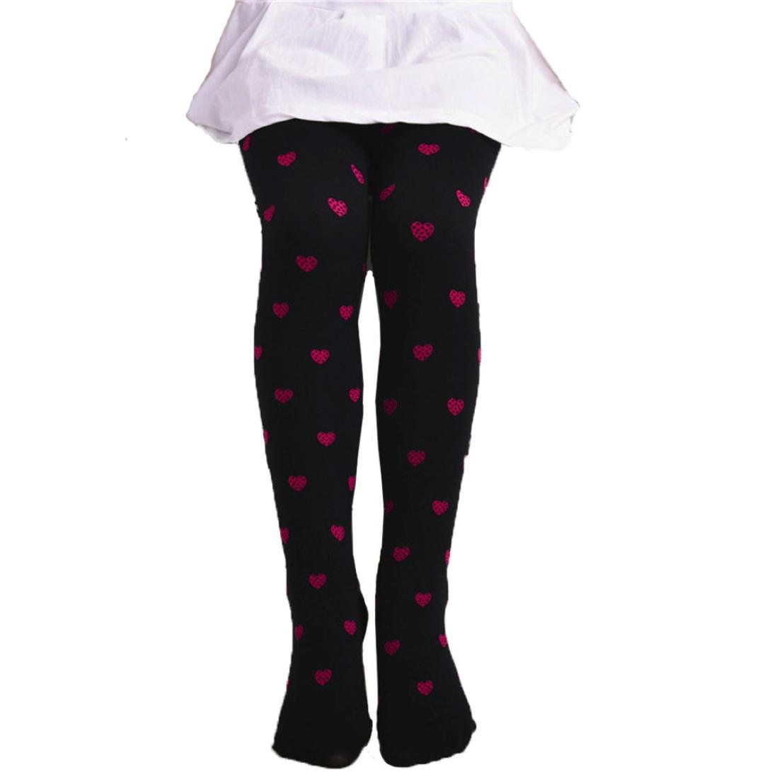 Lavany Kids Girls Footed Heart Dots Tights Stockings Ballet Candy Colors Opaque Sock