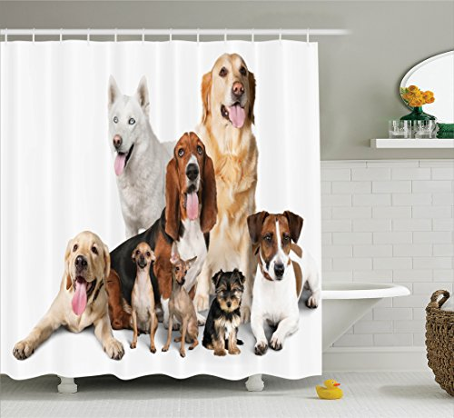 Ambesonne Dog Lover Decor Collection, Group Of Dogs Posing F