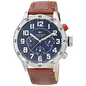 Reloj analógico de cuarzo para hombre Tommy Hilfiger Trent 1791066, correa de piel marrón. 1