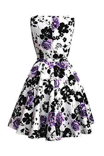 Black Butterfly 'Audrey' Vestido Vintage Años 50 Serenity Blanco y Morado