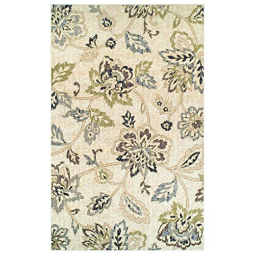 Superior Jacobean Collection Area Rug, 8mm Pile Height with Jute Backing,  Beautiful Floral Pattern, Fashionable and Affordable Woven Rugs, 5' x 8' Rug,