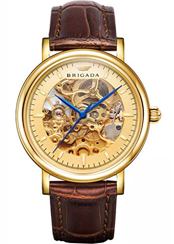 BRIGADA Swiss Brand Nice Classic Luxury Gold Hollow Mechanical Automatic Men's Watch Brown Leather Band