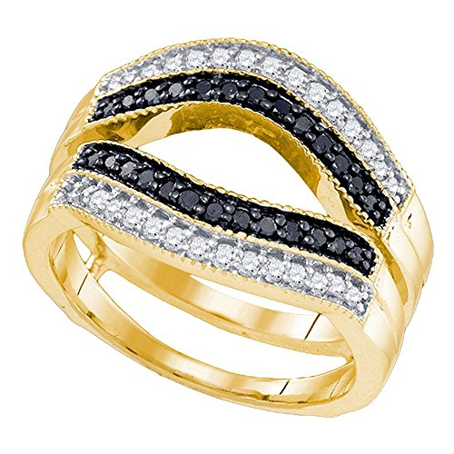 Jewels By Lux 10kt Yellow Gold Womens Round Black Color Enhanced Diamond Ring Guard Wrap Solitaire Enhancer 1/2 Cttw Ring Size 8