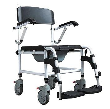 SXTYRL Silla de Ruedas Plegable Ligera Aluminio Andadores para sillas de Ruedas Estructura de Apoyo para Inodoro Altura Ajustable,Apoyo de baño para ...
