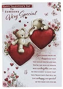 Alguien muy especial corazones Teddy, flores rojo en relieve de San Valentín tarjeta de felicitación