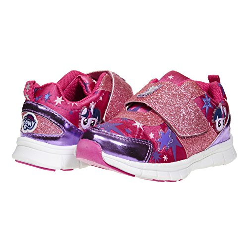 My Little Pony Stylish, Cute Shoes; Girls Glitter Strap Kids Sneakers Size 5-13 Pink ()