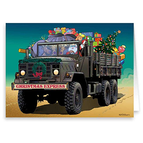 Santa Makes Delivery to Troops - Military Theme Christmas Cards - 18 Cards & Envelopes