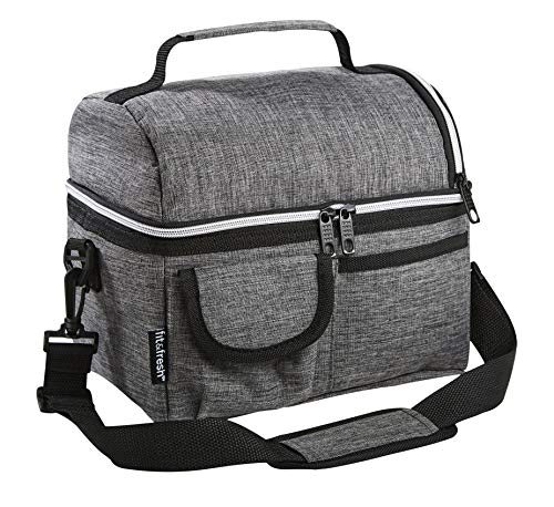 Fit & Fresh Small Insulated Cooler Bag Lunch Box for Men or Women with Adjustable Shoulder Strap, Gray (Lunch Bag Big Phil)