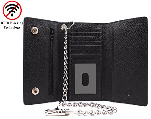 R.F.I.D Safe Signal Blocking Cow Leather Snake Texture Long Checkbook Tri-fold Steel Chain Wallet 312 Bikers,Trucker - Snake Long Wallet