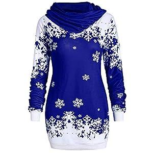 St.Dona Snowflake Printed Blouse, Newest Merry Christmas Cowl Neck Sweatshirt Fashion Warm Winter Tops