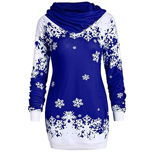 Ulanda Women's Cowl Neck Christmas Pullover Sweatshirt Winter Warm Snowflake Printed Tunic Tops Christmas Costumes (S, Blue)