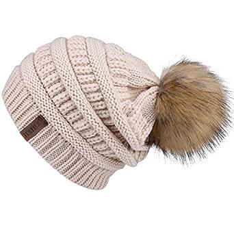Womens Winter Slouchy Knit Beanie Chunky Faux Fur Pom Poms Hat Bobble Hat Ski Cap