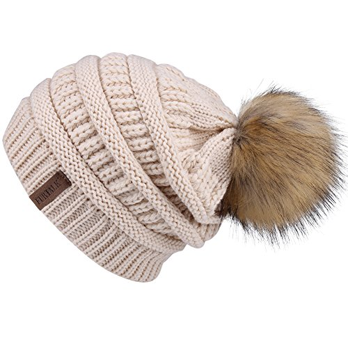 Womens Winter Slouchy Knit Beanie Chunky Faux Fur Pom Poms Hat Bobble Hat Ski (Fur Crocheted Hat)