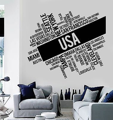 Vinyl Wall Decal USA Cities Abstract Map United States Stickers Murals (vs4794) ()
