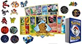 50 Assorted pokemon Card Pack Lot - No Duplication! With Foils, Rares, Random Pokemon Pin, Coin! Comes in Custom Golden Groundhog Storage Box!