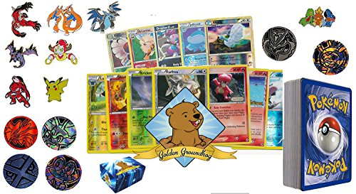 50 Assorted pokemon Card Pack Lot - No Duplication! With Foils, Rares, Random Pokemon Pin, Coin! Comes in Custom Golden Groundhog Storage Box! Photo - Pokemon Gaming