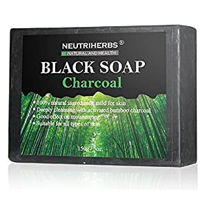 Neutriherbs Activated Charcoal Soap (Black) – Natural, Organic Bamboo – Facial Cleanser Reduces Acne, Breakouts and Blemishes – Safe for Dry, Oily or Combination Skin