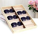 Rustic Wood Sunglass Display Case, 14 Compartment Eyewear Storage Box, Beige