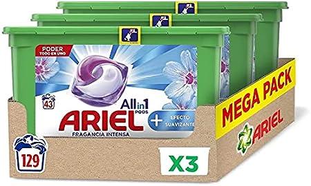 TALLA 129 Lavados. Ariel Pods Detergente Lavadora Cápsulas, 129 Lavados (Pack 3 x 43), Efecto Suavizante