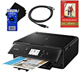 Canon Pixma TS6120 Wireless Inkjet All-in one Printer (Black) with Scan, Copy, Mobile Printing, Airprint & Google Cloud + Set of Ink Tanks + Photo Paper Sample + USB Printer Cable + HeroFiber Cloth