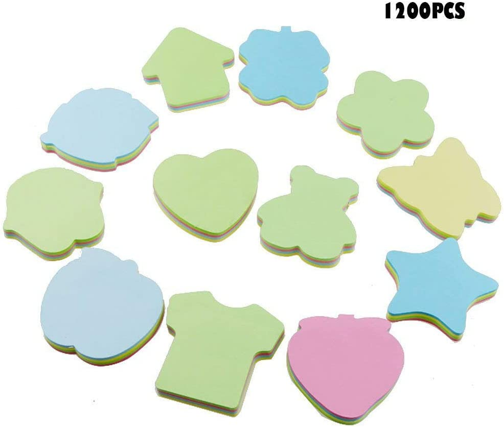 Acmer 12 Different Shapes of Colorful Sticky Notes, Bundle Pack - 12 Pads 100 Sheets Per Pads A Total of 1200