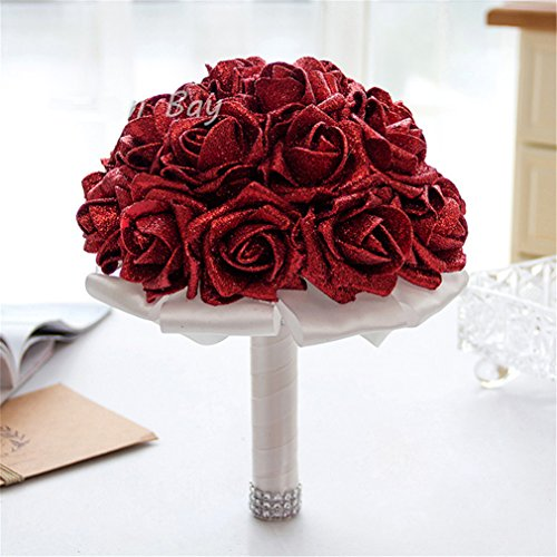 Passionate Rose Bouquet - FantasyDay Rose Flower Wedding Bouquet, Dazzling Bridesmaid Bouquet Bridal Bouquet with Crystals Soft Ribbons, Flowers Leaf Wedding Floral Decor Bouquet for Wedding, Party and Church, Passionate Red