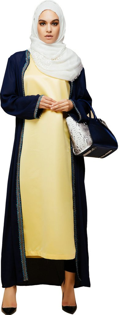 YI HENG MEI Women's Elegant Modest Muslim Islamic Abaya Open Front Embroidery Long Trench Coat,Black,L