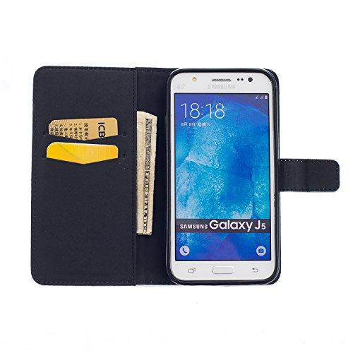 Samsung J5 2015 Funda Alfort Carcasa Samsung Galaxy J5 2015 Case de Piel Pintada Cover La tapa de la Cubierta del Cuero Moda Case con Soporte Plegable y Ranura de Tarjeta para Samsung Galaxy J5 2015 ( Gaviota