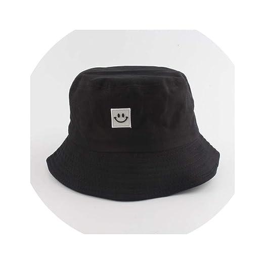 e28a02aba Summer Hats Caps Women Men Panama Bucket Hat Smile Face Embroidery ...