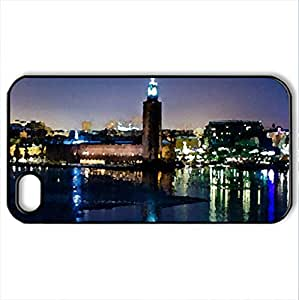 amazing city waterfront on a winter night - Case Cover for iPhone 4 and 4s (Watercolor style, Black)