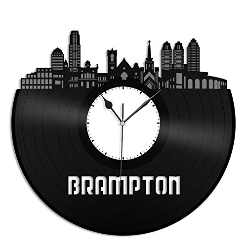 VinylShopUS Brampton Skyline Vinyl Wall Clock Cityscape Ideal for Home Decorative| Room Decoration by VinylShopUS