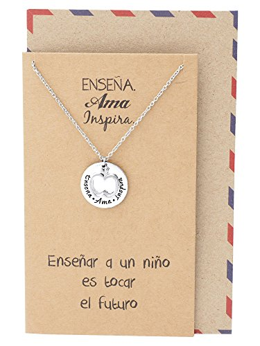 (Quan Jewelry Best Gifts for Teachers in Spanish Apple Jewelry Enseña AMA Inspira Engraving on Pendant, Latin Engraved Necklace and Greeting Card (Silver Tone))