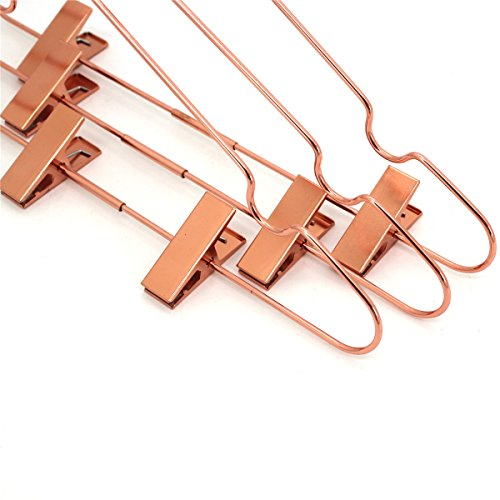 Koobay 50Pack 13'' Rose Copper Gold Shiny Metal Wire Top Clothes Hangers with Clips for Shirts Coat Storage & Display by Koobay (Image #2)