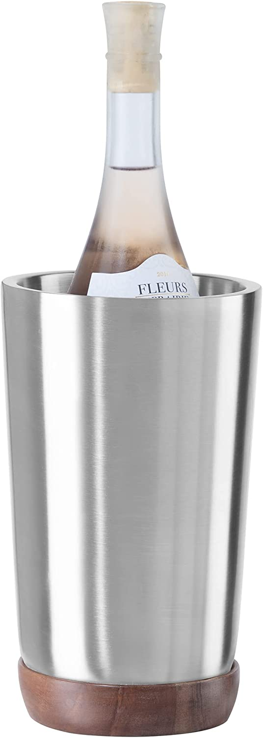 OGGI Modernist Satin Stainless Steel Wine Chiller- Acacia Wood Detail, 1-Bottle Wine Cooler; Ideal as Wine Gifts, Bar Cart Accessories, Champagne Bucket, Beverage Chiller