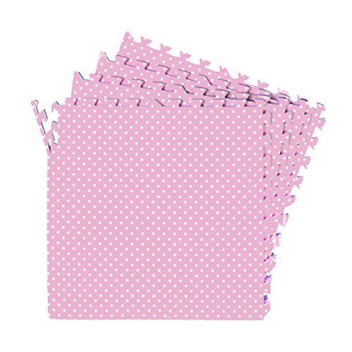 Price comparison product image Polka Dot Pink Exercise Mat 16-SQFT Girls Playmat 4-tile Interlocking Floor with 8-boarder by Poco Divo