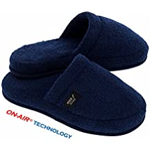 Hiera Home Luxurious On-Air SPA Slippers Made in Turkey, 100% Turkish Cotton (Navy, L/XL)
