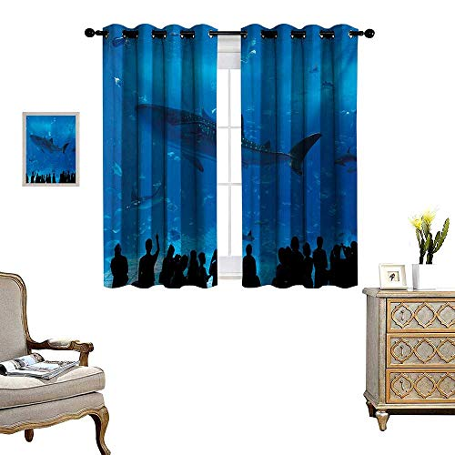 Shark Patterned Drape for Glass Door Japanese Aquarium Park with People Silhouettes Watching Underwater Life Hobby Image Waterproof Window Curtain W55 x L39 Blue Black ()
