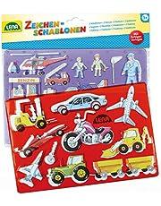 Lena 65773 Tekensjablonenset voor voertuigen en mensen, met 2 sjablonen met voertuig- en persoonlijke motieven en bijbehorende kleursjablonen, ca. 26 x 19 cm, schilderset voor kinderen vanaf 3 jaar.