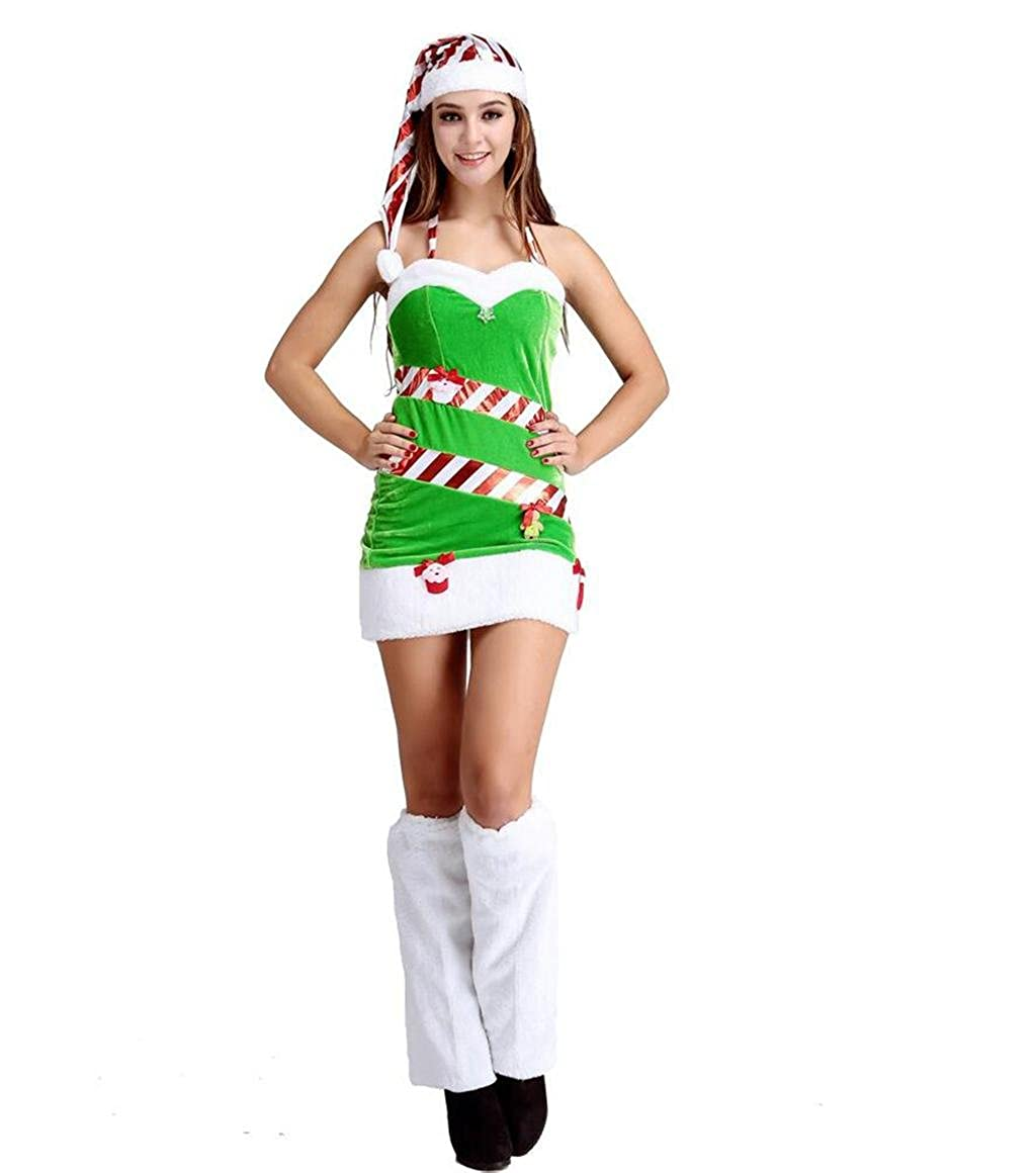 40f1cfd6004c MNII Women Miss Santa Santa Costumes Girls Women Red Green Santa ...