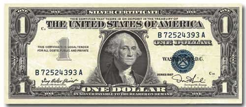 US One Dollar - Paper House Productions Die Cut Blank (One Dollar Silver Certificate)