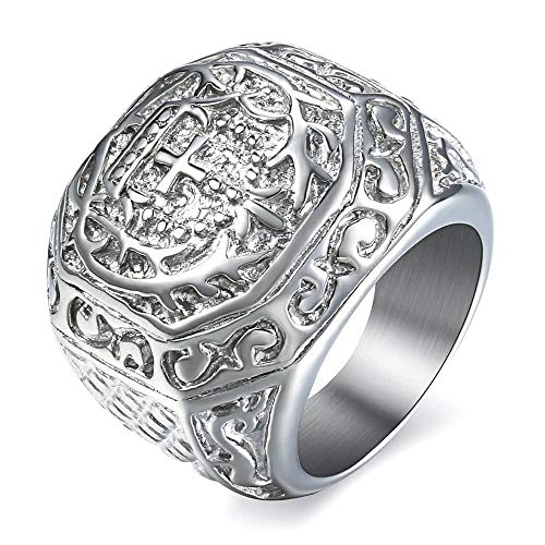 Trendsmax 316L Stainless Steel Signet Ring Carved Cross Crown Silver Tone Finger Ring Gothic Cool Size 13