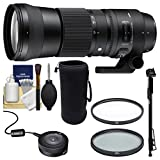 Sigma 150-600mm f/5.0-6.3 Contemporary DG OS HSM Zoom Lens with Sigma USB Dock + UV/CPL Filters + Pouch + Monopod Kit for Nikon Digital SLR Cameras