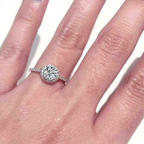 1.15 ctw Dainty Halo Diamond Engagement Ring 14K Gold (J c60ff184aed5