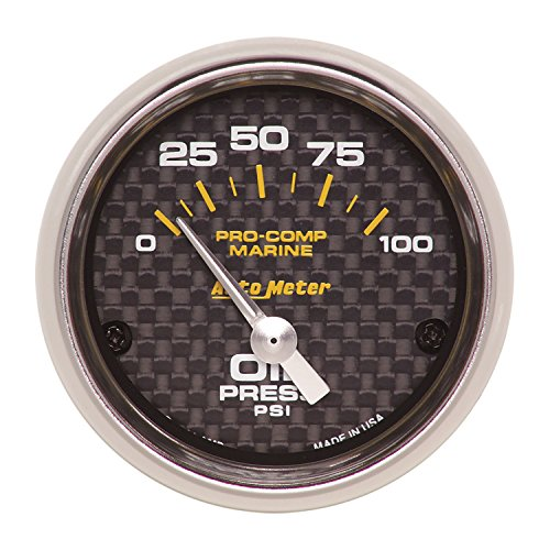 AutoMeter 200758-40 Marine Electric Oil Pressure Gauge 2-1/16 in. Carbon Fiber Dial Face Silver Pointer White Incandescent Lighting Air Core 0-100 PSI Marine Electric Oil Pressure (Carbon Fiber Auto Oil Pressure Gauge)