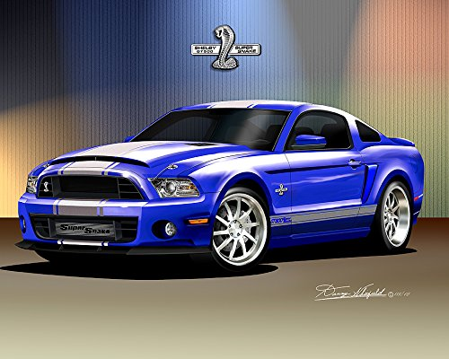 2013-2014 MUSTANG SHELBY GT-500 SUPER SNAKE - DEEP IMPACT BLUE - OFFICIAL DANNY WHITIFELD ART - SIZE 16 X 20