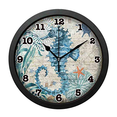(jiushiyigezi-n Wall Clock-Seahorse Northern Europe Restoration Personality Decorative Wall Clock for Bedroom、Office and Living room-10 inches)